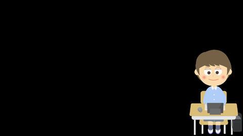 キーボード操作のアニメーション(小学生の男の子) CG動画