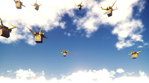 Autonomous delivery of parcels by unmanned drones flying on a Sunny clear day Animation