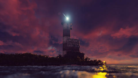 The light of the lighthouse rotates over the coast at sunset. Realistic Live Action