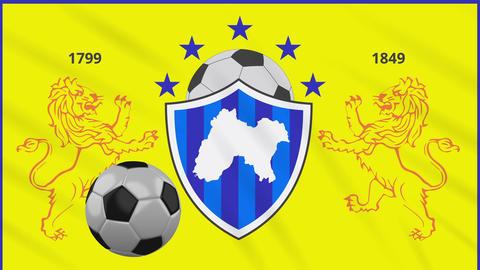 Panjab football flag and soccer ball rotates on background of waving cloth, loop Animation