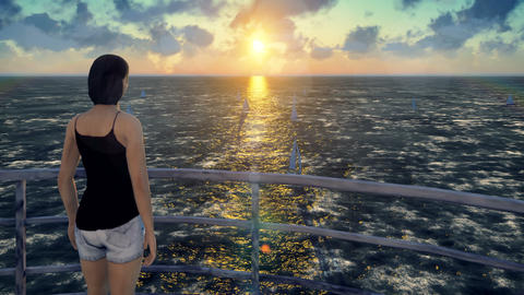 The girl stands on the old lighthouse and admires the sunrise and sailboats Live Action