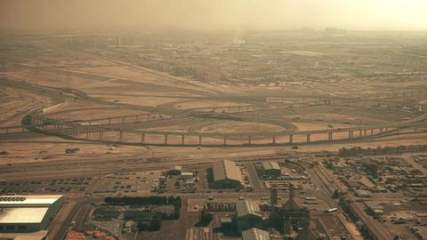 Aerial view of a big highway interchange in Dubai, UAE Photo