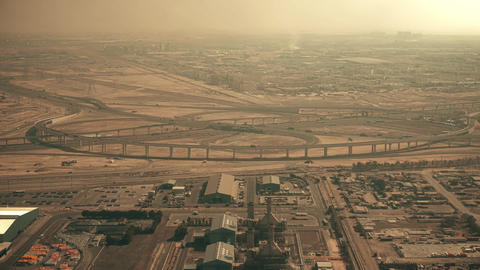 Aerial view of a big highway interchange in Dubai, UAE GIF