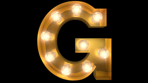 Golden light bulb typeface character G Animation