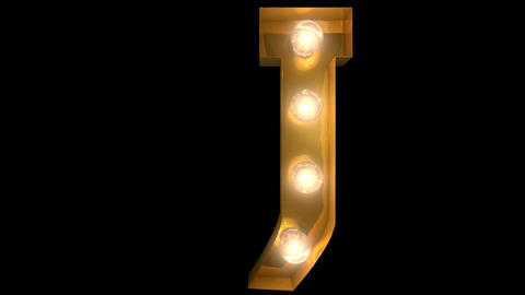 Golden light bulb typeface character J Animation