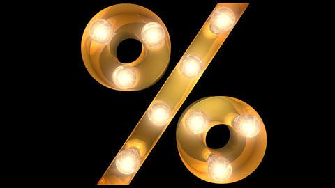 Golden light bulb typeface character Percent Animation
