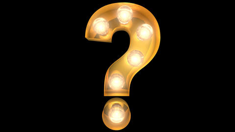 Golden light bulb typeface character Question mark Animation