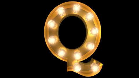 Golden light bulb typeface character Q Animation