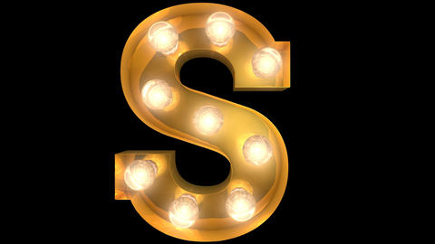 Golden light bulb typeface character S Animation
