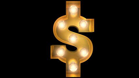 Golden light bulb typeface character USD Animation