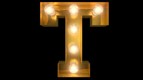 Golden light bulb typeface character T Animation