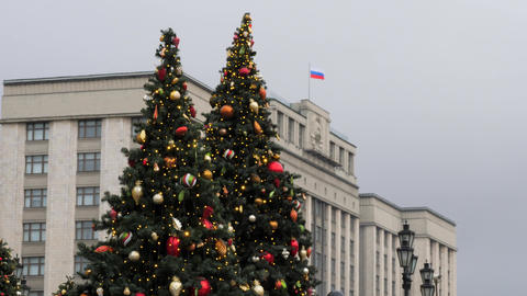 Russia Moscow. Christmas street illuminations of the Moscow. Building of the Parliament Live Action