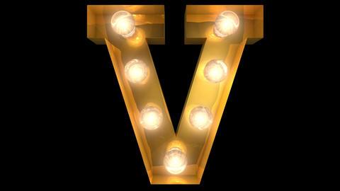 Golden light bulb typeface character V Animation