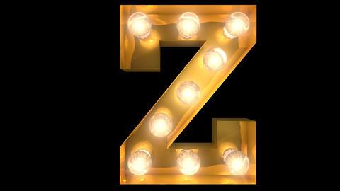 Golden light bulb typeface character Z Animation