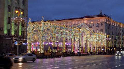 Russia Moscow. Christmas street illuminations of the city. New year's eve Live Action