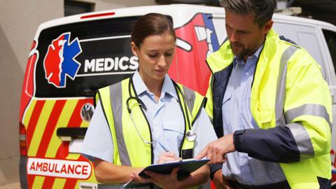 Portrait of two ambulance colleagues Live Action