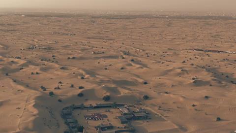 Recreational desert camp near Dubai, UAE. Aerial view Live Action