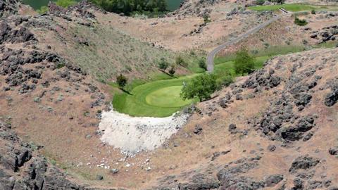 Golf course Twin Falls Idaho Snake River gorge HD 8049 Footage