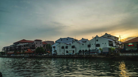 Melacca river side landscape time lapse at sunset til night Footage