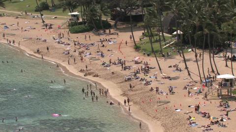 Hawaii Hanauma Bay beach close pan HD Footage
