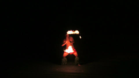 Hawaii polynesian fire dance M HD Live Action