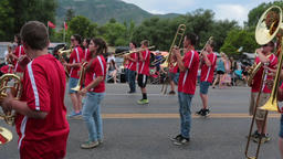 High School marching band rural town parade HD Footage