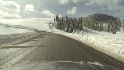 High mountain winter snow driving POV fast HD 0276 Footage