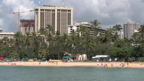 Honolulu Waikiki Beach Hawaii pan left M HD Footage