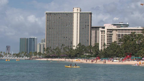 Honolulu oahu Hawaii beach ocean kayak resort vacation M HD Footage