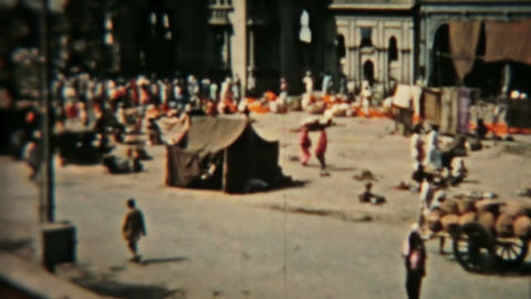 India Circa 1960 vintage market square HD 0079 Footage