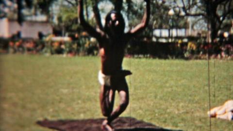 India man body contortion vintage film Circa 1960 HD 0084 Footage