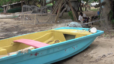Jamaica coastal village fishing boat trap making 4K Footage