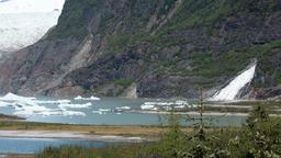 Juneau Alaska Mendenhall Glacier icebergs Nugget Falls HD 6982 Footage