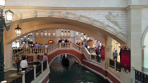 Las Vegas Italian gondola Venice canal resort 4K Footage