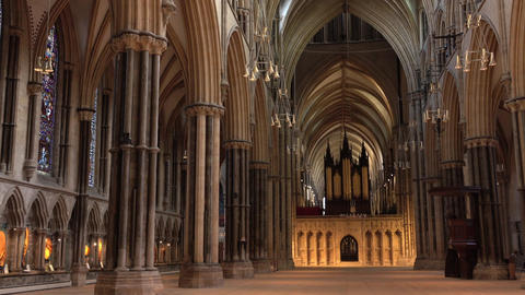 Lincoln England Cathedral pan inside church chapel 4K Live Action