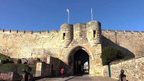Lincoln England castle gate entrance 4K Footage