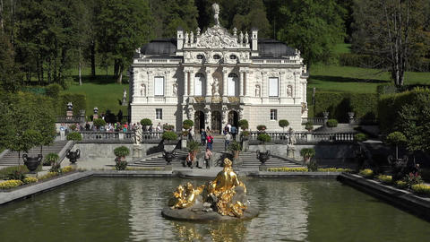 Linderhof Palace over fountain and garden Germany HD 018 Footage