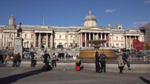 London England Trafalgar Square tourism fountain 4K Footage