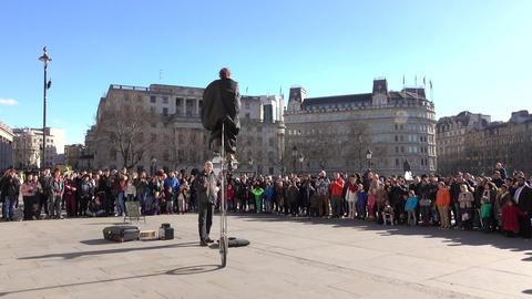 London England Trafalgar Square unicycle performer 4K Footage