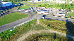 Race track 4k aerial panoramic video. Roads motorcycle racing. Sport concept Footage