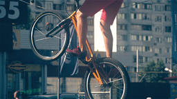 Cyclist rear wheel jump in bicycle HD slow motion video. Mountain bike tricks Footage