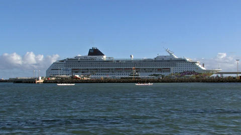 Maui Kahulia cruise ship and outrigger padding Hawaii HD Footage