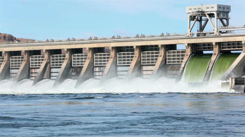 McNary Dam Columbia River spillway down stream HD 7994 Footage