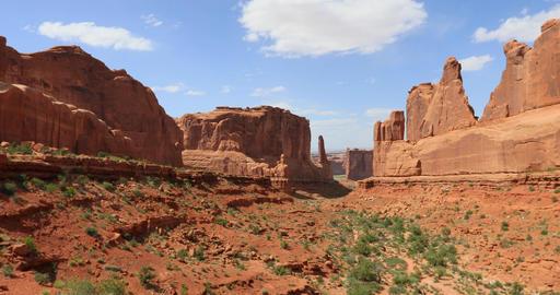 Moab Utah Arches National Park Park Avenue pan DCI 4K Footage