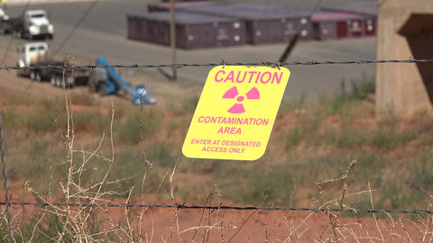 Moab Utah UMTRA warning sign contamination radiation uranium site 4K Footage