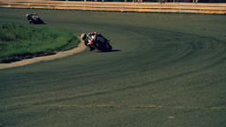 Motorcycle racing HD static video. Moto riders in turn on circuit road track Footage