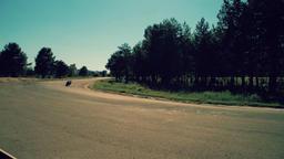 Motorcycle racing HD video back view. Moto riders in turn circuit road track Footage