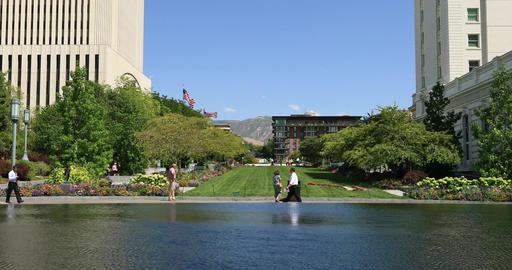 Mormon LDS Church Headquarters reflection pool Utah DCI 4K Footage