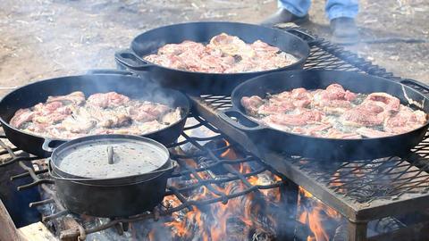 Mutton steaks cut in deep fry P HD 6602 Footage