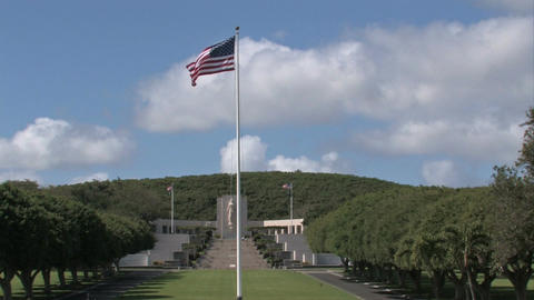 National Cemetery of Pacific flag memorial Hawaii M HD Footage